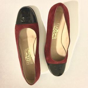 Salvatore Ferragamo Red Suede Loafer  Patent Toe